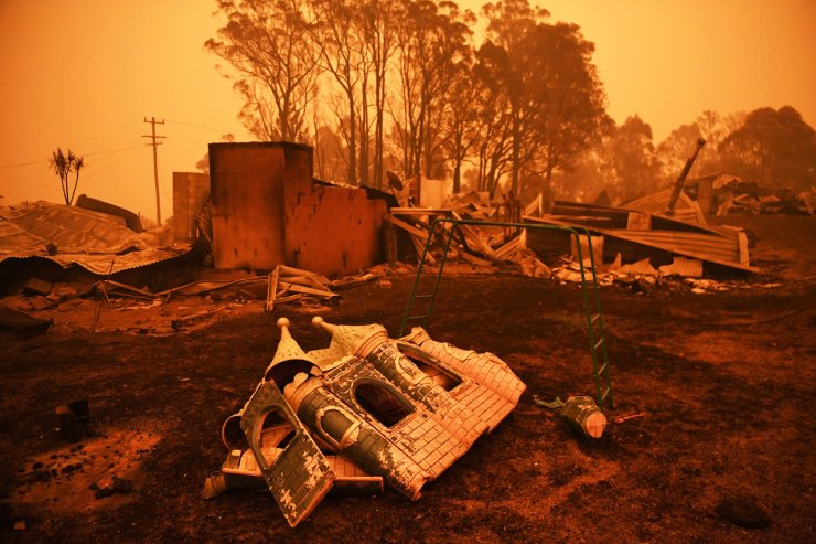 The remains of a destroyed house are pictured in Cobargo, as bushfires continue in New South Wales, Australia Jan. 5, 2020. REUTERS