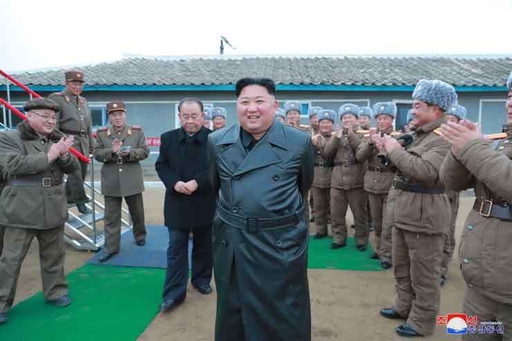 North Korea's leader Kim Jong-un visits a test-firing site of the North's super-large multiple launch rocket system, Nov. 28, around Yonpo, South Hamgyong Province, in this photo released by the country's state-run Korean Central News Agency (KCNA) the following day. KCNA-Yonhap