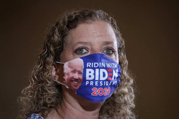 Rep. Debbie Wasserman Schultz (D-FL) delivers opening remarks while wearing a Democratic presidential candidate Joe Biden themed face mask during a Vision for Older Americans event at the Southwest Focal Point Community Center, in Pembroke Pines, Florida, U.S., October 13, 2020.  Reuters