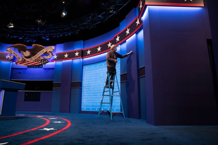 The stage is prepared at Curb Event Center ahead of the presidential debate between US President Donald J. Trump and Democratic candidate Joe Biden, at Belmont University in Nashville, Tennessee, USA, 21 October 2020. EPA