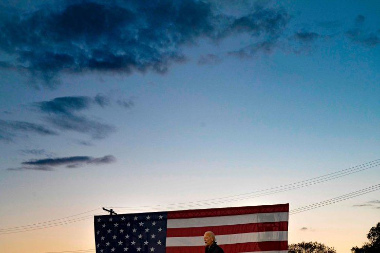Democratic Presidential candidate and former US Vice President Joe Biden speaks at a car rally at the Michigan State Fairgrounds in Detroit, Michigan, on October 16, 2020. AFP
