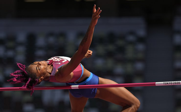 Tynita Butts-Townsend, of the United States, competes in the qualification rounds of the women's high jump at the 2020 Summer Olympics, Thursday, Aug. 5, 2021, in Tokyo. AP