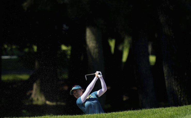 Minjee Lee, of Australia, plays a shot from the 5th fairway during the second round of the women's golf event at the 2020 Summer Olympics, Thursday, Aug. 5, 2021, at the Kasumigaseki Country Club in Kawagoe, Japan. AP