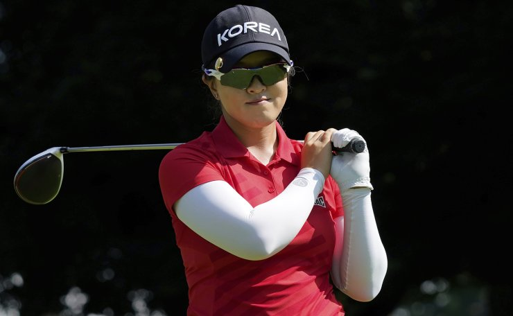 Sei Young Kim, of South Korea, watches her tee shot on the third hole during the third round of the women's golf event at the 2020 Summer Olympics, Friday, Aug. 6, 2021, at the Kasumigaseki Country Club in Kawagoe, Japan. AP