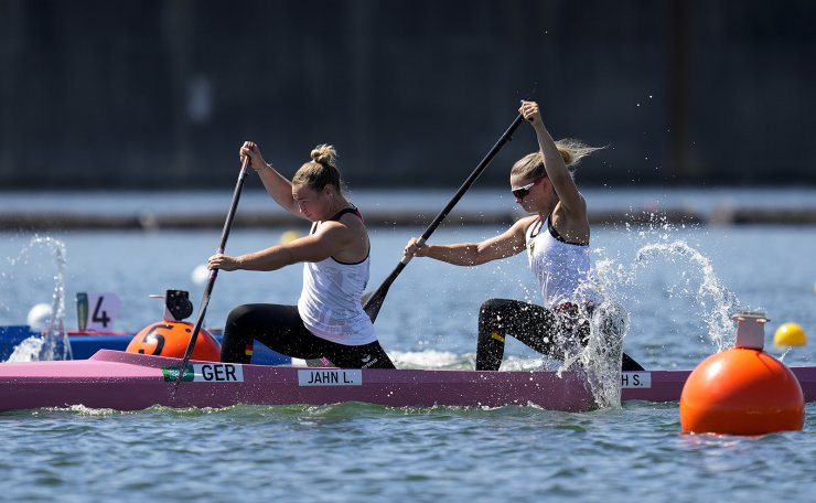 Lisa Jahn and Sophie Ulrike Koch of Germany compete in the women's canoe double 500m heat during the 2020 Summer Olympics, Friday, Aug. 6, 2021, in Tokyo, Japan. AP