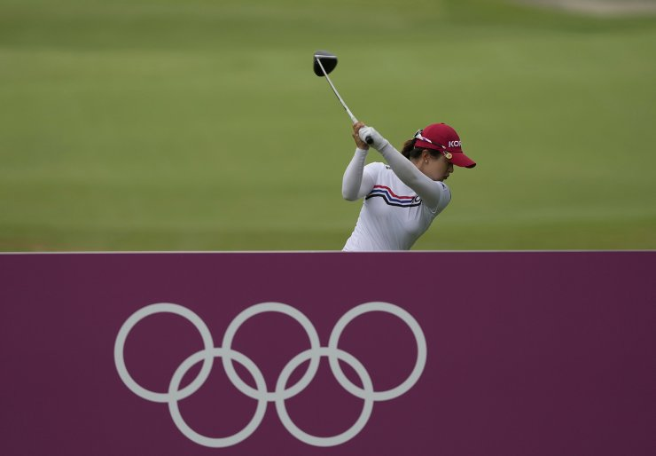 Sei Young Kim, of South Korea, hits a tee shot on the second hole during the final round of the women's golf event at the 2020 Summer Olympics, Saturday, Aug. 7, 2021, at the Kasumigaseki Country Club in Kawagoe, Japan. AP