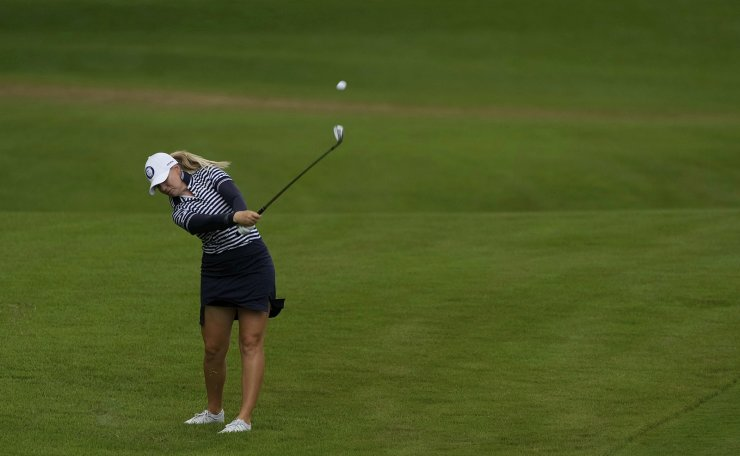 Matilda Castren, of Finland, hits a shot out of the rough on the second hole during the final round of the women's golf event at the 2020 Summer Olympics, Saturday, Aug. 7, 2021, at the Kasumigaseki Country Club in Kawagoe, Japan. AP