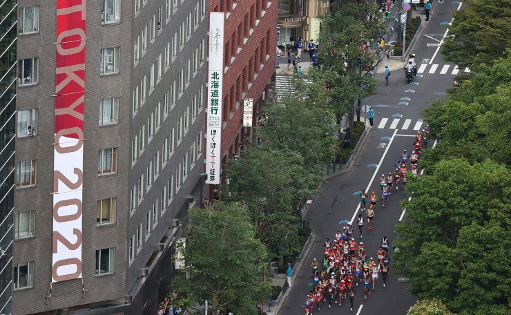 Tokyo 2020 Olympics - Athletics - Men's Marathon - Sapporo Odori Park, Sapporo, Japan - August 8, 2021. General view of the athletes in action. REUTERS
