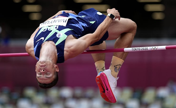 Ilya Ivanyuk, of Russian Olympic Committee, competes in the preliminary round of the men's high jump at the 2020 Summer Olympics, Friday, July 30, 2021, in Tokyo. AP