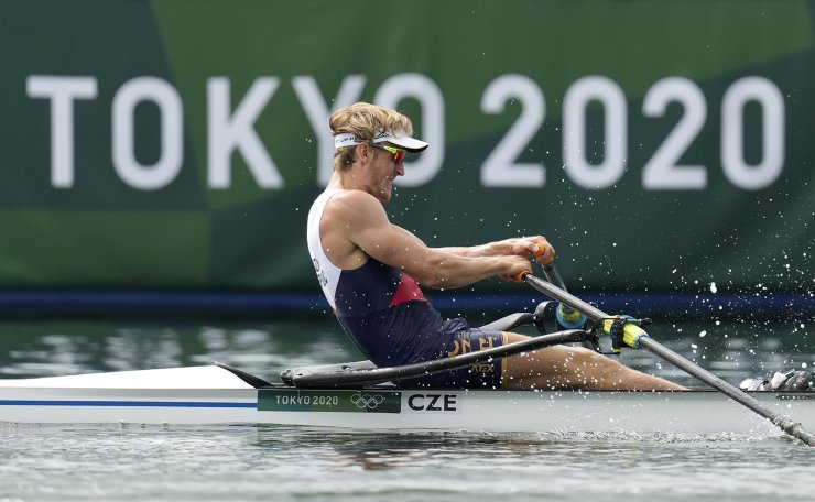 Jan Fleissner of Czech Republic competes in the men's rowing single sculls final at the 2020 Summer Olympics, Friday, July 30, 2021, in Tokyo, Japan. AP