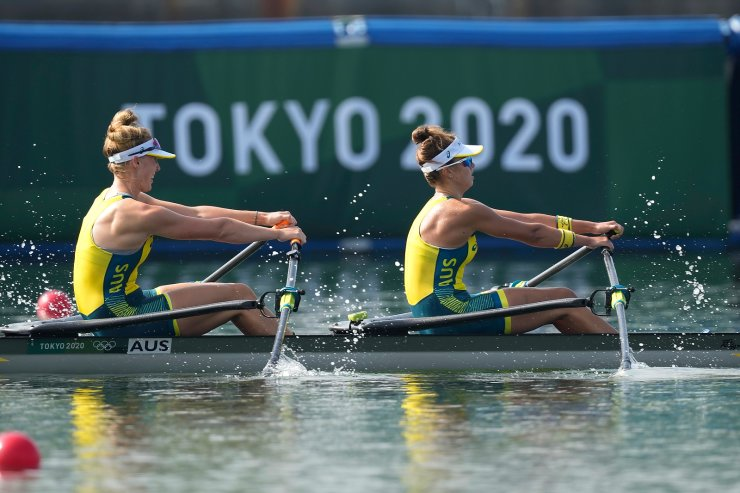 Tara Rigney and Amanda Bateman, of Australia, compete in the women's double sculls final at the 2020 Summer Olympics, Wednesday, July 28, 2021, in Tokyo, Japan. AP