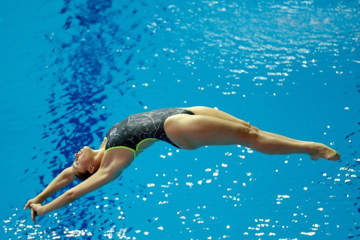 Georgia Sheehan of Australia competes during the women's 1 meter springboard diving final competition at the World Swimming Championships in Gwangju, South Korea, Saturday, July 13, 2019. AP