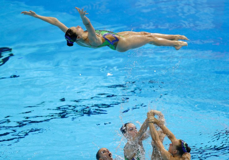Belarus perform their routine in the artistic swimming team technical preliminary at the World Swimming Championships in Gwangju, South Korea, Sunday, July 14, 2019. AP