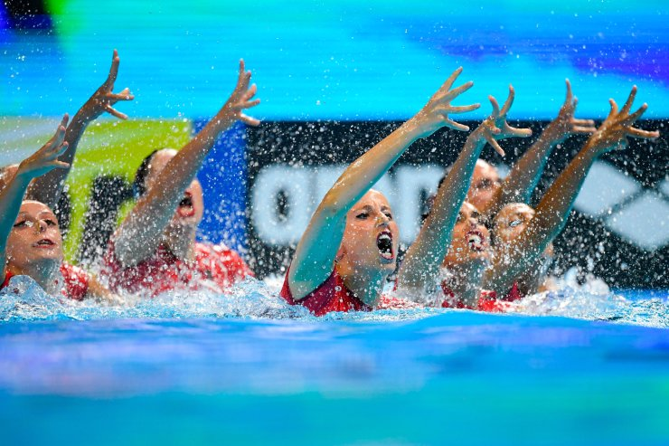 Spain's team compete in the highlight routine artistic swimming final during the 2019 World Championships at Yeomju Gymnasium in Gwangju on July 15, 2019. AFP