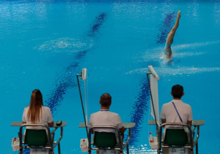 China's Lu Wei competes during the preliminary of the women's 10m platform competitions at the World Swimming Championships in Gwangju, South Korea, Tuesday, July 16, 2019. AP