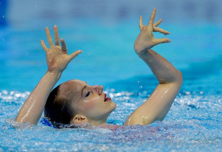 Germany's Marlene Bojer performs her routine in the artistic swimming solo free preliminary at the World Swimming Championships in Gwangju, South Korea, Monday, July 15, 2019. AP