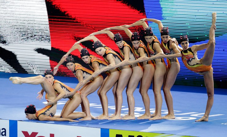 Italy compete in the highlight team final at the World Swimming Championships in Gwangju, South Korea, Monday, July 15, 2019. AP