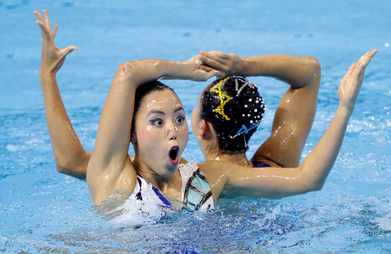 Japan's Yukiko Inui and Megumu Yoshida perform their routine in the artistic swimming duet free preliminary at the World Swimming Championships in Gwangju, South Korea, Tuesday, July 16, 2019. AP