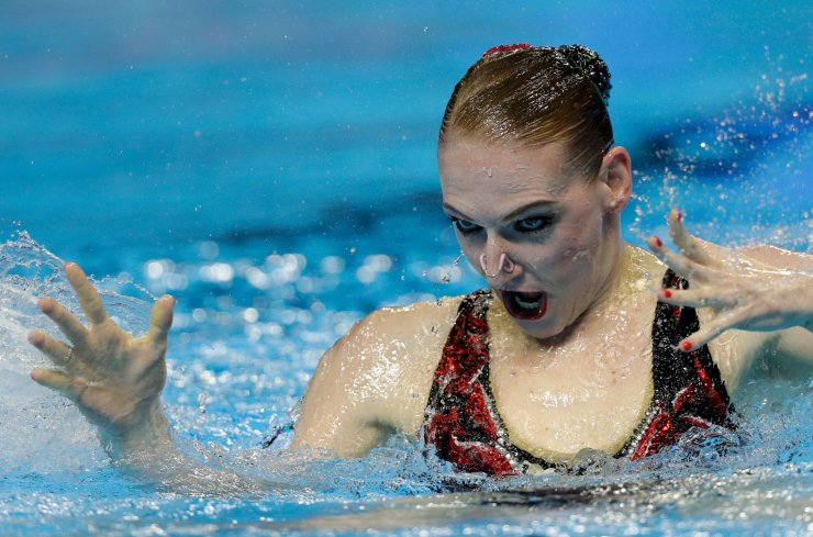 Russia's Svetlana Romashina performs her routine in the artistic swimming solo free preliminary at the World Swimming Championships in Gwangju, South Korea, Monday, July 15, 2019. AP