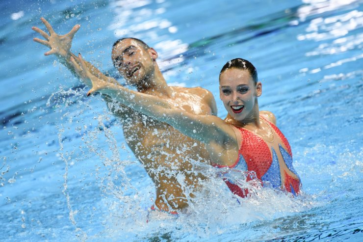 Spain's Emma Garcia Garcia and Spain's Pau Ribes compete in the mixed duet technical artistic swimming event during the 2019 World Championships at Yeomju Gymnasium in Gwangju on July 13, 2019. AFP