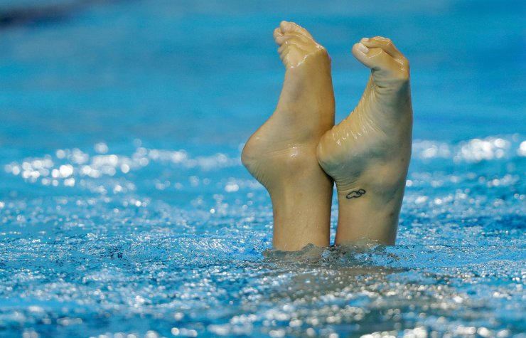 Evangelia Platanioti of Greece performs her routine in the artistic swimming solo free preliminary at the World Swimming Championships in Gwangju, South Korea, Monday, July 15, 2019. AP