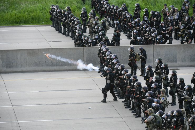 The State Patrol fires teargas at protesters on the I35 during the sixth day of demonstrations over the arrest of George Floyd, who later died in police custody, in St Paul, Minnesota, USA, 31 May 2020. EPA