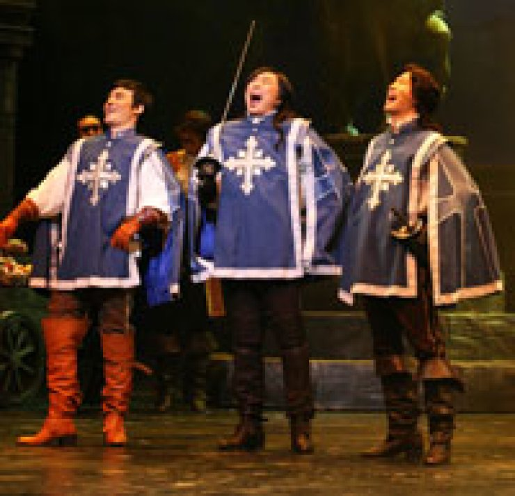 This photo shows an image of a scene from the musical 'Three Musketeers.'