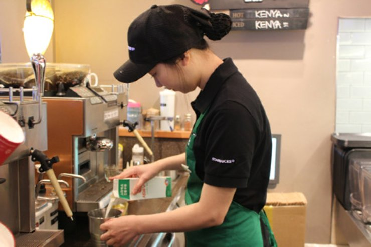 In Korea, Starbucks baristas are required to have nicknames. / Korea Times