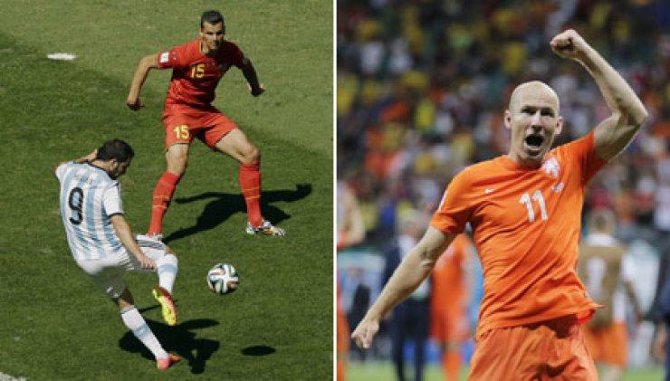 In left photo, Argentina's Gonzalo Higuain, left, scores past Belgium's Daniel Van Buyten during their quarterfinal match at the Estadio Nacional in Brasilia, Brazil, Saturday. In right photo, Netherland's Arjen Robben raises his fist after his side defeated Costa Rica 4-3 in a penalty shootout after a 0-0 draw during their quarterfinal match at the Arena Fonte Nova in Salvador, Brazil, Saturday. The Netherlands and Argentina will clash on Thursday (KST), while Brazil and Germany will compete on Wednesday in their semifinals of the Brazil World Cup. / AP-Yonhap