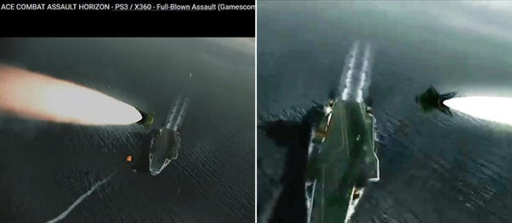 Left: ADD's promotional video for the KF-X project. Right: Game trailer footage from Bandai Namco's