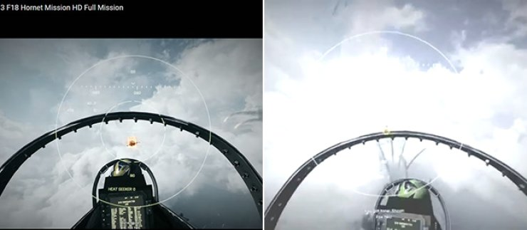 Left: ADD's promotional video for the KF-X project. Right: Game footage from EA game