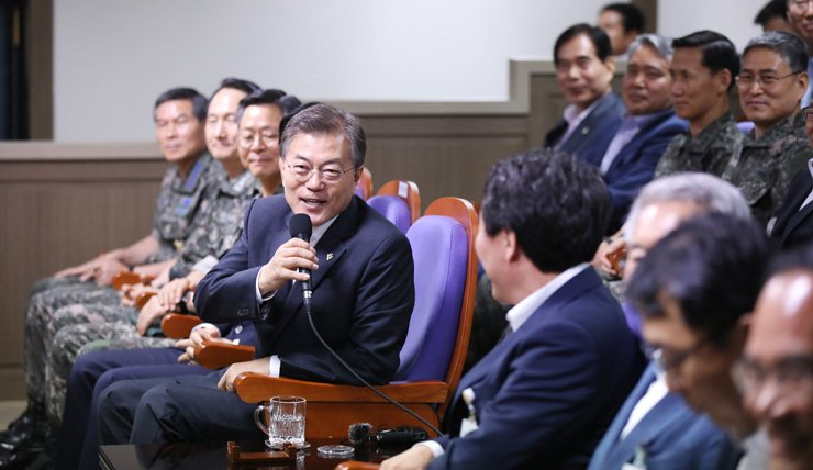 President Moon Jae-in speaks to government and military officials after observing the test-firing of a new home-grown ballistic missile at the Anheung test site of the Agency for Defense Development in Taean, South Chungcheong Province, Friday. Moon's spokesman said the President's visit to the site is to send a strong message to North Korea over its repeated provocations. / Courtesy of Cheong Wa Dae
