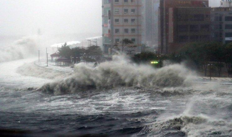 Typhoon Chaba hits a beach park in Suyeong-gu, Busan, October 2016. / Yonhap