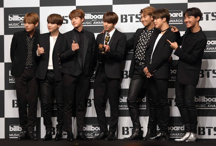 <span>BTS at a press conference at Lotte Hotel Seoul in Jung-gu, May 29, after winning at the 2017 Billboard Music Awards. / Korea Times file</span><br /><br />