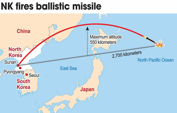 North Korea fired a ballistic missile over Japan, Tuesday, which flew more than 2,700 kilometers before falling into North Pacific Ocean. Some analysts presume the missile is Hwasung 12 ballistic missile. Seen is the Hwasung 12 the North test-fired in May. / Yonhap