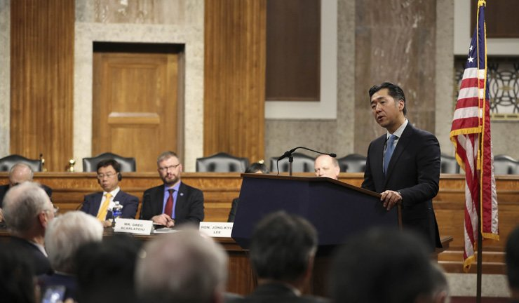 Global Peace Foundation (GPF) Chairman Moon Hyun-jin speaks in a plenary session of the International Forum on One Korea in the Dirksen Senate Office Building on Capitol Hill, Nov. 14. / Courtesy of GPF