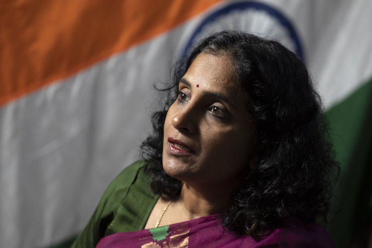 Indian Ambassador to Korea Sripriya Ranganathan speaks during a recent interview with The Korea Times at the embassy in Hannam-dong, Seoul. / Korea Times photo by Choi Won-suk