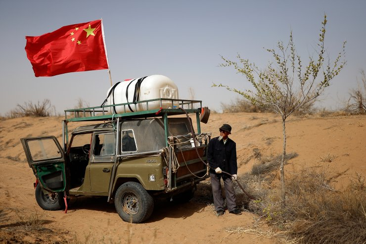 Wang Tianchang, 78, waters a tree planted on the edge of the Gobi desert on the outskirts of Wuwei, Gansu province, China, April 15, 2021. 'After 1999, when the tree-planting sped up, things got much better,' said Yinji. 'Our corn grew taller. The sand that used to blow in from the east and northeast was stopped.' REUTERS