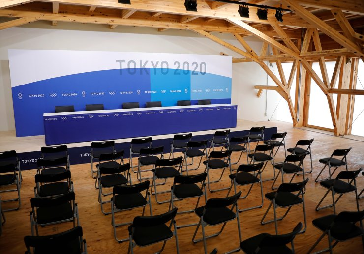 A news conference room is pictured at the village plaza of the Tokyo 2020 Olympic and Paralympic Village in Tokyo, Japan, June 20, 2021.  REUTERS
