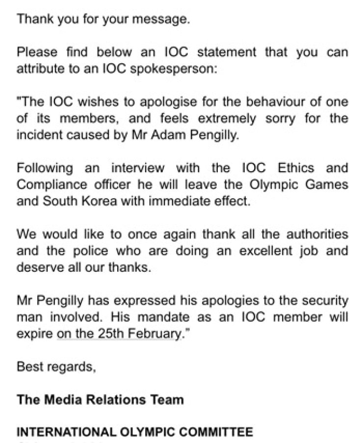 An IOC confirmation email to  The Korea Times.