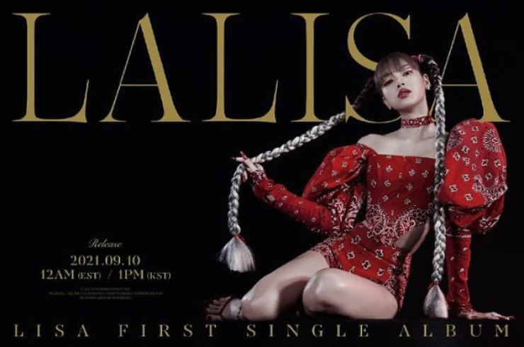 This photo, provided by YG Entertainment, shows the teaser poster of 'Lalisa,' BLACKPINK member Lisa's debut solo album. Courtesy of YG Entertainment
