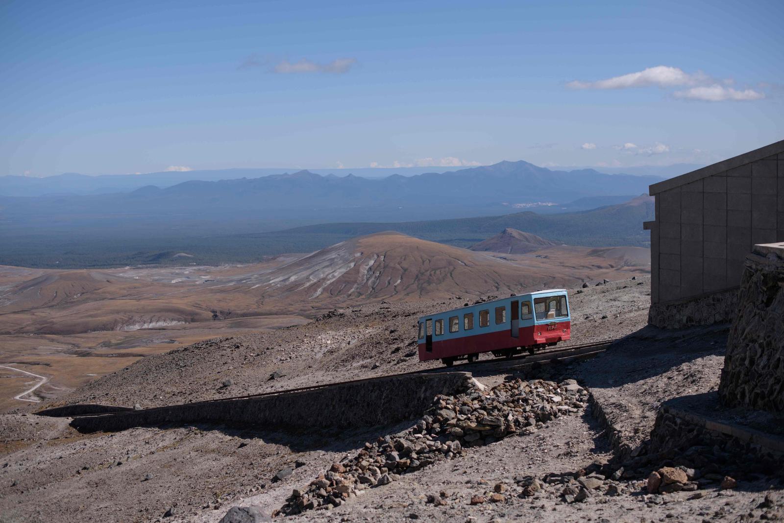 A photo taken on September 11, 2019, shows a funicular railway leading to a viewing platform at Mount Paektu, near Samjiyon. AFP