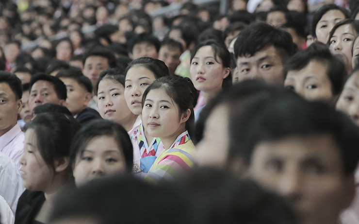 North Korean leader Kim Jong-un addresses to audience at the May Day Stadium after watching a gymnastic and artistic performance in Wednesday evening. Joint Press Corps