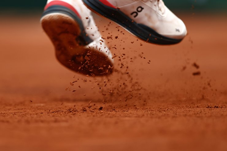 Switzerland's Roger Federer's trainers during his second round match against Croatia's Marin Cilic at Roland Garros in Paris, France, June 3. REUTERS
