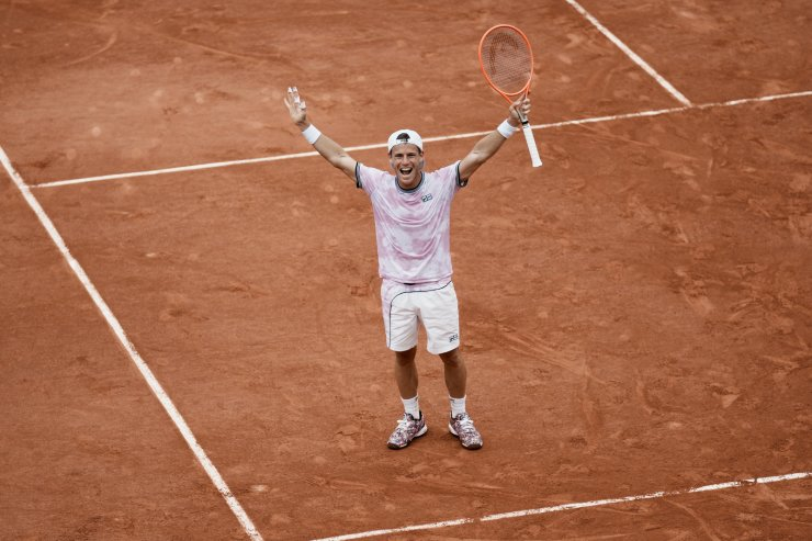 Argentina's Diego Schwartzman celebrates after defeating Germany's Jan-Lennard Struff during their fourth round match on day 9, of the French Open tennis tournament at Roland Garros in Paris, France, Monday, June 7, 2021. AP