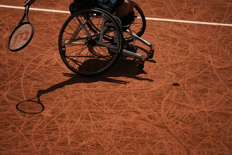 Japan's Shingo Kunieda plays a return to Alfie Hewett of Britain in the men's wheelchair final on day 9, of the French Open tennis tournament at Roland Garros in Paris, France, Monday, June 7, 2021. AP