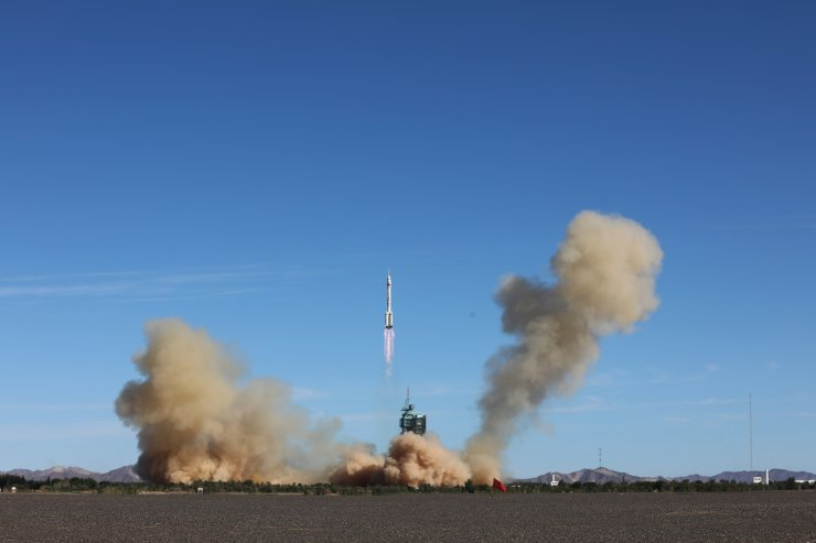 The crewed spacecraft Shenzhou-12, atop a Long March-2F carrier rocket, is launched from the Jiuquan Satellite Launch Center in northwest China's Gobi Desert, June 17, 2021. Xinhua