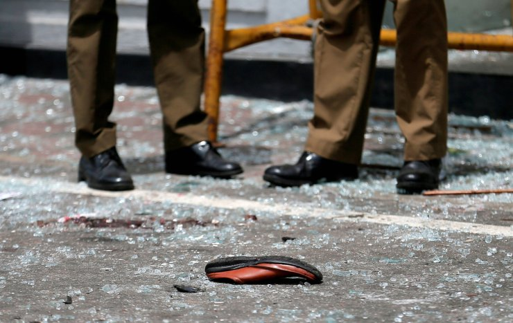 A shoe of a victim is seen in front of the St. Anthony's Shrine, Kochchikade church after an explosion in Colombo, Sri Lanka April 21, 2019. Reuters