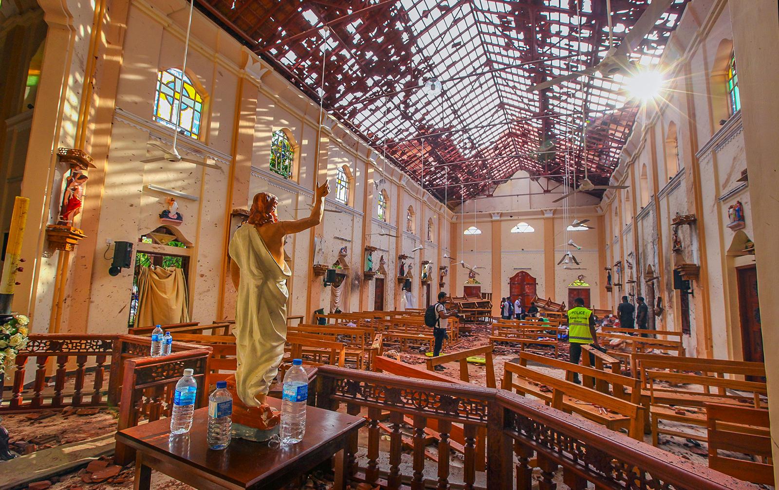 A view of St. Sebastian's Church damaged in blast in Negombo, north of Colombo, Sri Lanka, Sunday, April 21, 2019. AP