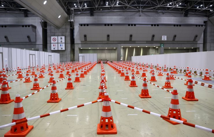 General view of the coronavirus disease (COVID-19) testing area and saliva sample collection room at the Tokyo Olympic Main Press Center in Tokyo, Japan, July 12. REUTERS